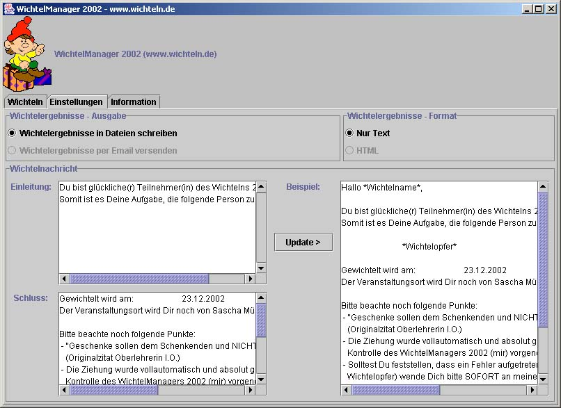 Screenshot Config WichtelManager 2002