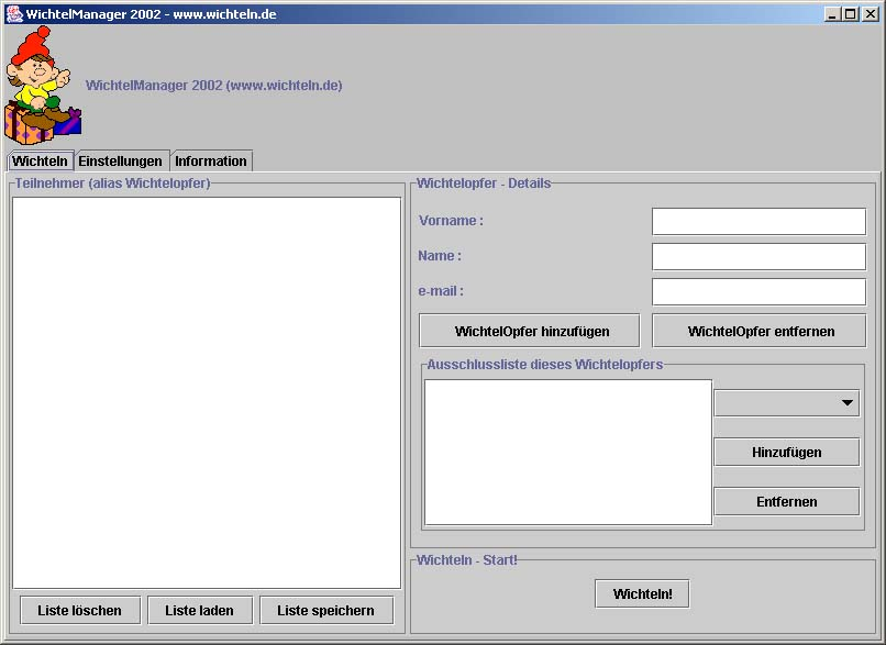 Screenshot Main WichtelManager 2002